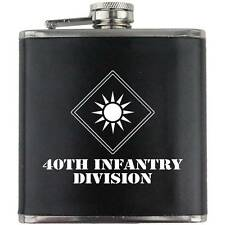 Army 40th Infantry Division Veteran Soldier Groomsman Gift Leather Wrapped Flask