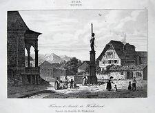 Sempach: Arnold de winkelried-puits. Fontaine rouargue suisse 1838 suisse