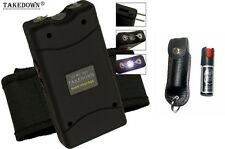 Black Self Defense Kit 25M Volt Stun Gun and Keychain Pepper Spray