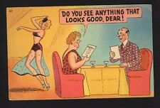 Comic Postcard couple in restaurant, man stares at dancer, wife looking at menu