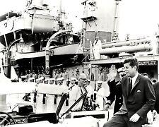 PRESIDENT JOHN F. KENNEDY NEXT TO THE USS SAUFLEY IN 1962 - 8X10 PHOTO (ZY-132)