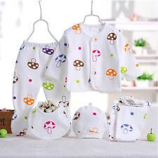 5PCS Newborn Baby Boy Girls Cotton T-shirt Pants Hat Bibs Set Outfits 0- 3Months