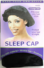 ANNIE SLEEP CAP SILKY SATIN WRINKLE-FREE BREATHABLE BLACK (CHOOSE FROM 2 SIZES)