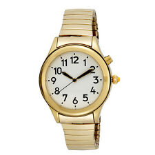 Ladies Gold Tone Talking Watch White Face, Choice of Voices Male & Female - Eng.