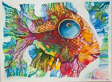 Fish / Original Oil on Stretched Canvas by Sergej Hahonin / 30 x 40 cm