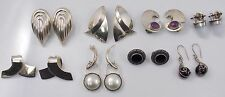 Sterling Silver Jewelry Earring Lot of 8 Pair Taxco Mexico Avery Pierced & Clip