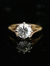 EDWARDIAN STYLE 9CT GOLD ON SILVER CZ SOLITAIRE RING