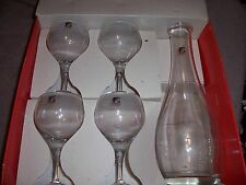 Bormioli Light And Music Decanter & 4 Stem Glasses in Blown Crystal Glass