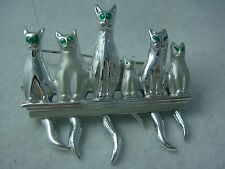 VINTAGE SILVER TONE DANGLING TAILS CATS ON SHELF PIN BROOCH