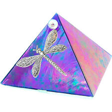 Kheops International - 2 inch Glass Pyramid Box Dragonfly Blue Iridescent 50009