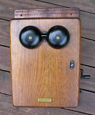 ANTIQUE WESTERN ELECTRIC 400K WALL TELEPHONE OAK HAND CRANK BOX Only
