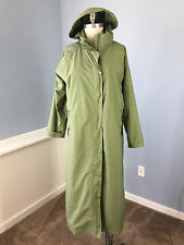 L L Bean Green Long Coat L P hood EUC Rain Jacket Trench Removable wool Lining