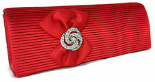 Beautiful  Red Sateen Box Evening Clutch Bag Diamante Peacock Brooch Front