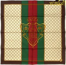 "GUCCI brown border HYSTERIA CREST red & green Web 26"" silk GG scarf NWT Authentc"
