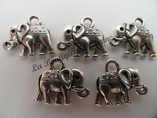 LOT DE 5 BRELOQUES METAL ARGENTE FORME ELEPHANT - CREATION BIJOUX PERLES CHARMS