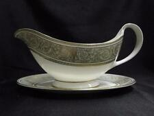 Royal Doulton English Renaissance, Green Scrolls: Gravy Boat w/ Separate Plate