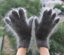 Size L-XL   100% Longhair goat fluff Gloves hand knit Furry Fetish Mohair wool