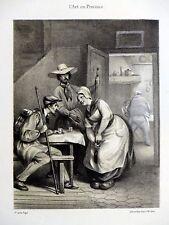 Voyageurs à l'auberge - Lithographie de Desrosiers d'ap. Edme-Jean Pigal MOULINS