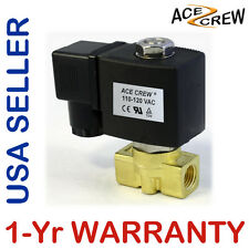VITON 1/4 inch 110V-120V AC Brass Solenoid Valve NPT Gas Water Air 1-Yr WARRANTY