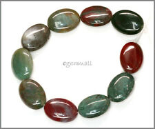 Fancy Jasper Blood Stone Flat Oval Beads 13x18mm #69123
