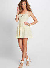 NWT GUESS $98 Sleeveless Dotted lace up corset dress Ivory S 4 5