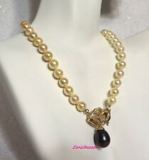14K YELLOW GOLD BLACK & GOLD PEARL, DIAMOND PENDANT NECKLACE