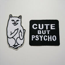 2 x Embroidery Cat Cute But Psycho Sew Iron On Patch Badage Bag Jeans Applique
