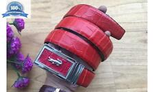 Men's Dress Casual Belt Genuine CROCODILE BELLY Leather RED #TBH128