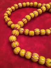 "23.75"" Vintage Nepal Four Layer Chevron Glass ""Padre"" Trade Bead Strand."