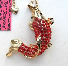 "Sea Life Betsey Johnson 28"" Chain, Gold Plated Red Crystal 3"" Fish Necklace"