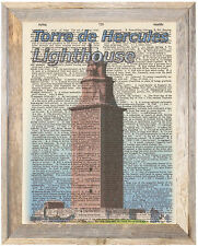 Torre de Hercules Spain Lighthouse Altered Art Print Upcycled Vintage Dictionary