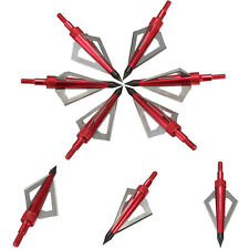 6pcs Broadheads Crossbow Bolt Arrow Archery Heads - 3 Blade Red 100 Grain