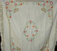Nature Chic Butterfly tablecloth embroidered for cutter repair 25x36 in vintage