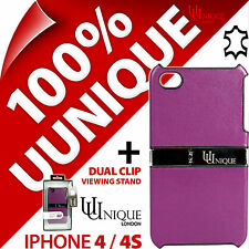 New Uunique Genuine Leather Case Cover for Apple iPhone 4S + USB Charging Cable