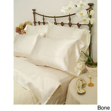 PAIR OF CREAM SHINY SILKY SATIN PILLOWCASES - BRAND NEW FIT STANDARD PILLOWS