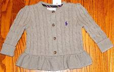 POLO RALPH LAUREN BABY GIRLS BRAND NEW GRAY DRESS SWEATER JACKET Size 12M, NWT