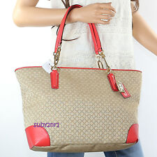 NWT Coach Madison OP Art Needlepoint East West Tote Shoulder Bag 26806 Khaki Red