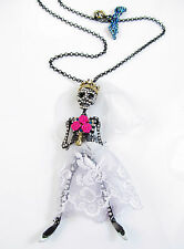 BETSEY JOHNSON 'Dark Shadows' Skeleton Skull Bride Bat Pendant Long Necklace