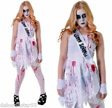 Zombie sanglant mort reine du bal carrie halloween fancy dress costume 12-14 ans