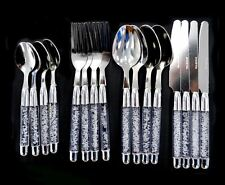16PC PALERMO CUTLERY SET STAINLESS STEEL WITH CRYSTAL HANDLES SPOON KNIFE FORK