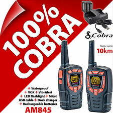 Cobra AM845 2 Way Walkie Talkie Radios 10km Rechargable PMR 446 AM-845 Twin Pack