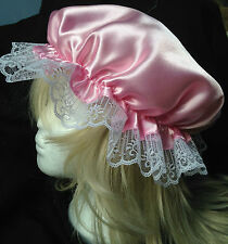victorian  mop cap adult baby fancy dress satin bonnet cap hat pink sissy maid