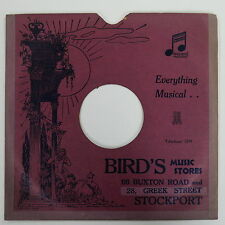 """78rpm 10"""" card gramophone record sleeve / cover BIRD`S , STOCKPORT"""