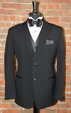 MENS 44 R BLACK RIO by Perry Ellis  TUXEDO JACKET / PANT / SHIRT / BOW TIE
