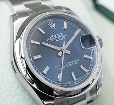 *NEW* ROLEX MIDSIZE STAINLESS STEEL BLUE STICK DATEJUST #178240