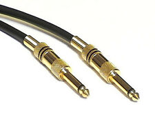 "2m Guitar Lead, Gold Plated 6.35mm 1/4"" Jack Plugs Twin Screen Low Noise Cable"