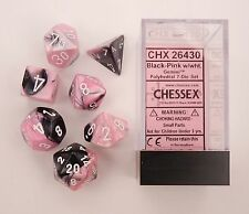 Chessex Polyhedral 7-Die Gemini Dice Set Black Pink with White CHX 26430