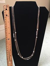 Vintage Native American Indian Liquid Sterling Silver Necklace - 5 Strand