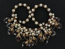 Early Haskell Dripping Hearts Collar Necklace Amber Crystals /Faux Pearl(NK2022)
