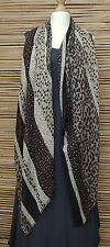 *NEW*OVERSIZE COTTON/VISCOSE BEAUTIFUL VERY SOFT DOTS/LEOPARD PRINT SCARF*Khaki*